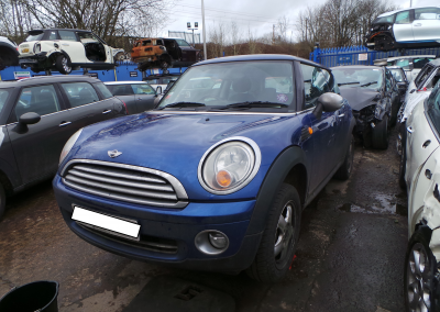 BMW MINI 2007 R56 ONE 1.4 6 SPEED MANUAL LIGHTNING BLUE METALLIC FOR PARTS.